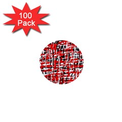 Red, White And Black Pattern 1  Mini Buttons (100 Pack)  by Valentinaart