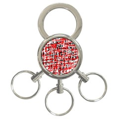 Red, White And Black Pattern 3 Ring Key Chains by Valentinaart