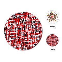Red, White And Black Pattern Playing Cards (round)  by Valentinaart