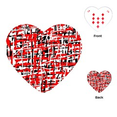 Red, White And Black Pattern Playing Cards (heart)  by Valentinaart