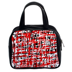 Red, White And Black Pattern Classic Handbags (2 Sides) by Valentinaart