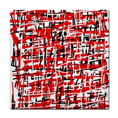 Red, White And Black Pattern Face Towel by Valentinaart