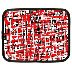 Red, White And Black Pattern Netbook Case (xxl)  by Valentinaart