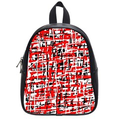 Red, White And Black Pattern School Bags (small)  by Valentinaart