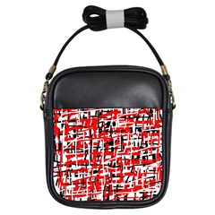 Red, White And Black Pattern Girls Sling Bags by Valentinaart