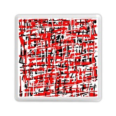 Red, White And Black Pattern Memory Card Reader (square)  by Valentinaart