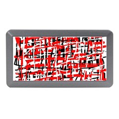 Red, White And Black Pattern Memory Card Reader (mini) by Valentinaart