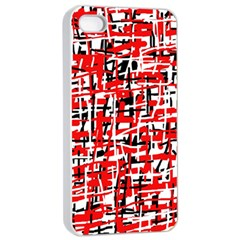 Red, White And Black Pattern Apple Iphone 4/4s Seamless Case (white) by Valentinaart
