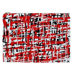 Red, White And Black Pattern Cosmetic Bag (xxl)  by Valentinaart