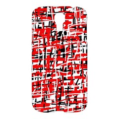 Red, White And Black Pattern Samsung Galaxy S4 I9500/i9505 Hardshell Case by Valentinaart