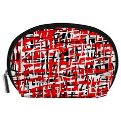 Red, White And Black Pattern Accessory Pouches (large)  by Valentinaart