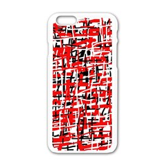 Red, White And Black Pattern Apple Iphone 6/6s White Enamel Case by Valentinaart