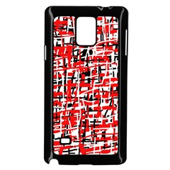 Red, White And Black Pattern Samsung Galaxy Note 4 Case (black) by Valentinaart