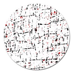 Red, White And Black Pattern Magnet 5  (round) by Valentinaart