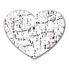 Red, White And Black Pattern Heart Mousepads by Valentinaart