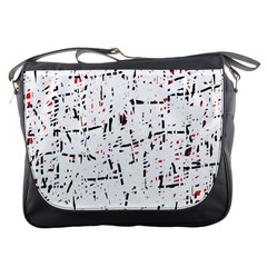 Red, White And Black Pattern Messenger Bags by Valentinaart