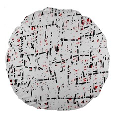 Red, White And Black Pattern Large 18  Premium Round Cushions by Valentinaart