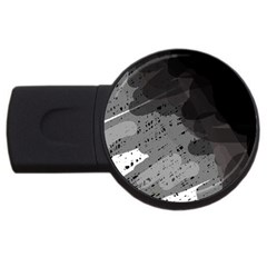 Black And Gray Pattern Usb Flash Drive Round (2 Gb)  by Valentinaart