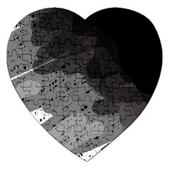 Black And Gray Pattern Jigsaw Puzzle (heart) by Valentinaart
