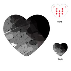 Black And Gray Pattern Playing Cards (heart)  by Valentinaart