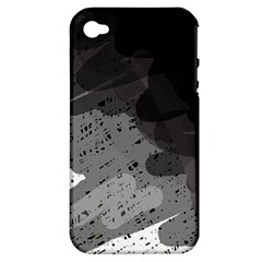 Black And Gray Pattern Apple Iphone 4/4s Hardshell Case (pc+silicone) by Valentinaart