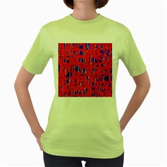 Blue And Red Pattern Women s Green T Shirt by Valentinaart