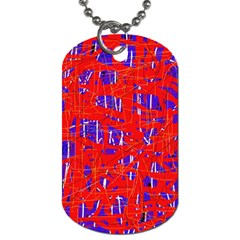 Blue And Red Pattern Dog Tag (one Side) by Valentinaart