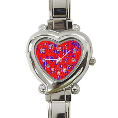 Blue And Red Pattern Heart Italian Charm Watch by Valentinaart