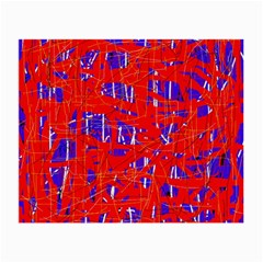 Blue And Red Pattern Small Glasses Cloth by Valentinaart
