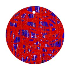 Blue And Red Pattern Round Ornament (two Sides)  by Valentinaart