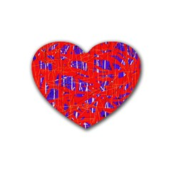 Blue And Red Pattern Rubber Coaster (heart)  by Valentinaart