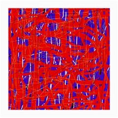 Blue And Red Pattern Medium Glasses Cloth (2 Side) by Valentinaart