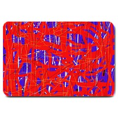 Blue And Red Pattern Large Doormat  by Valentinaart