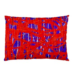 Blue And Red Pattern Pillow Case by Valentinaart
