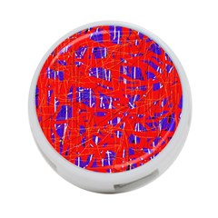 Blue And Red Pattern 4 Port Usb Hub (one Side) by Valentinaart