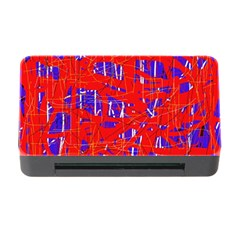 Blue And Red Pattern Memory Card Reader With Cf by Valentinaart