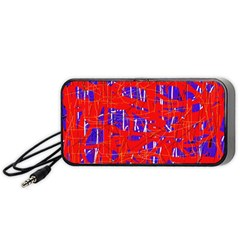 Blue And Red Pattern Portable Speaker (black)  by Valentinaart