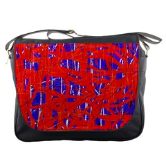 Blue And Red Pattern Messenger Bags by Valentinaart