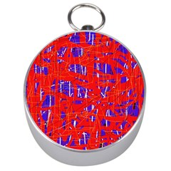 Blue And Red Pattern Silver Compasses by Valentinaart
