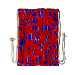 Blue And Red Pattern Drawstring Bag (small) by Valentinaart