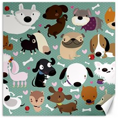 Dog Pattern Canvas 12  X 12   by Mjdaluz