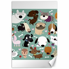 Dog Pattern Canvas 12  X 18   by Mjdaluz