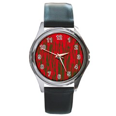 Red And Green Pattern Round Metal Watch by Valentinaart