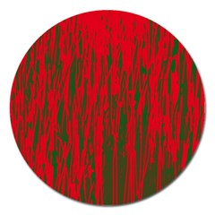Red And Green Pattern Magnet 5  (round) by Valentinaart