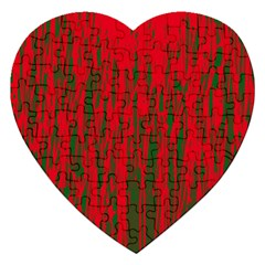 Red And Green Pattern Jigsaw Puzzle (heart) by Valentinaart