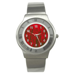 Red And Green Pattern Stainless Steel Watch by Valentinaart