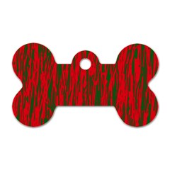 Red And Green Pattern Dog Tag Bone (one Side) by Valentinaart