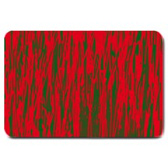 Red And Green Pattern Large Doormat  by Valentinaart