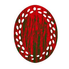 Red And Green Pattern Oval Filigree Ornament (2 Side)  by Valentinaart