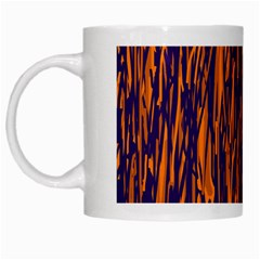 Blue And Orange Pattern White Mugs by Valentinaart